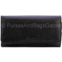 Fabretti Black Faux Leather Purse/Wallet With Twist Clip Purse