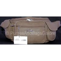 Very Large Cowhide Leather Bum Bag Dark Beige