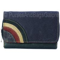 Fabretti Soft Leather Purse / Wallet Blue with Rainbow Mk3