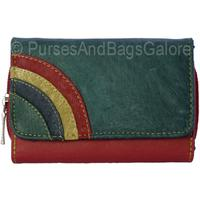 Fabretti Soft Leather Purse / Wallet Green with Rainbow Mk3