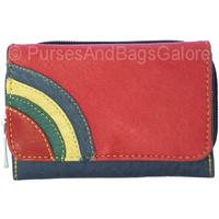 Fabretti Soft Leather Purse / Wallet Red with Rainbow Mk3