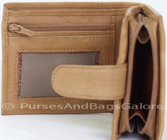 Soft Italian Leather Wallet With Coin Pocket Tan Light