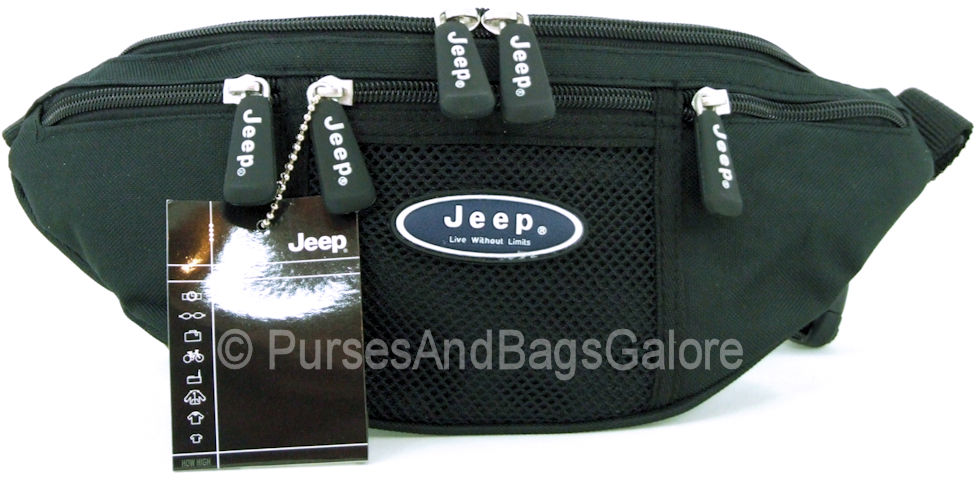 Jeep Legend Bum Bag with Phone Pocket Black with Blue Logo.