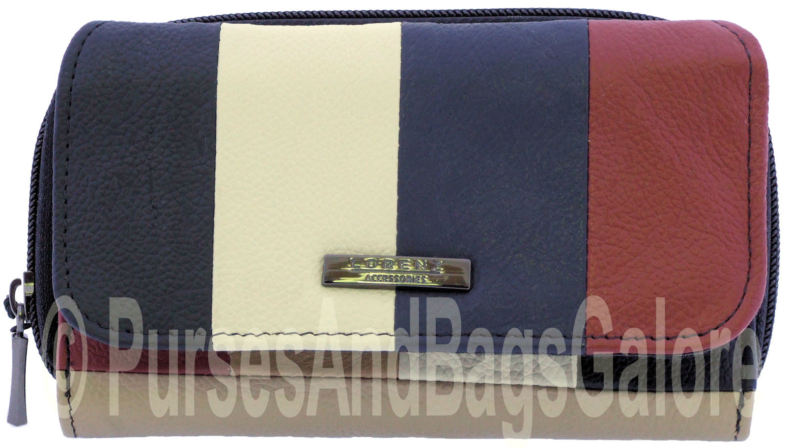 Lorenz Multi-Coloured Real Leather 2 Section Coin / Note Purse