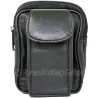Black Nappa Leather Belt Pouch with a mobile 'phone pocket