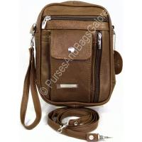 Lorenz Shoulder and Wrist Bag Brown Cowhide Leather Unisex
