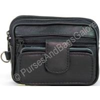 Black Nappa Leather Belt Pouch / Clutch-bag with Mobile 'phone P