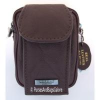 Belt Pouch With Mobile Phone Pocket Dark Brown Leather