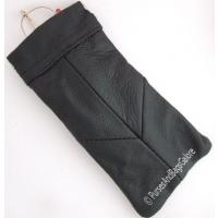 Glasses Case Real Leather Black Spring Closing
